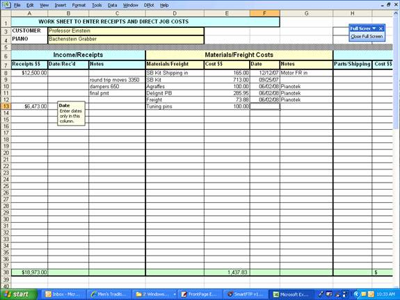 Worksheet to enter Income/Receipts;Materials/Freight Costs; Parts ...